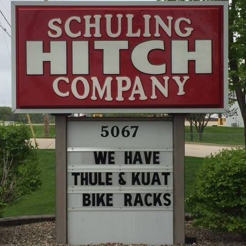 Schuling Hitch Company sign in front of building